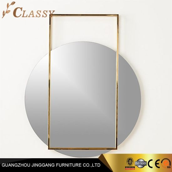 Luxury Royal Hotel Bedroom Bathroom Round Mirror in Rectangle Stainless Steel