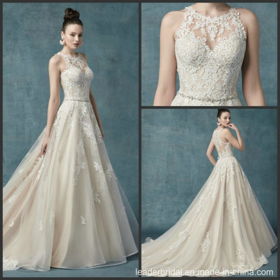 Champagne Lace Bridal Dress Sheer Back A-Line Wedding Gowns M9025