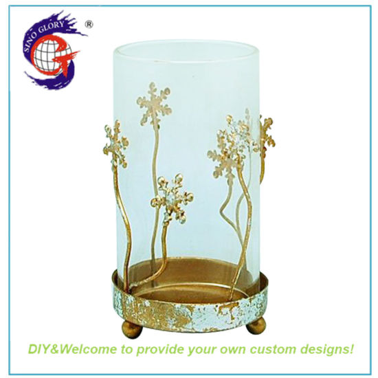 Cheap Gold Metal Glass Votive Candle Holder Yufeng Industry
