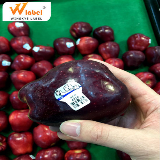 Custom Pretty Logo Printing Food Grade Adhesive Vegetable Fruit Label Sticker Removable Synthetic Paper