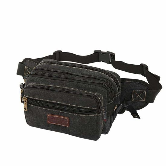 Large Bum Bag, Fanny Pack with 6 Zip Pockets, High Capacity Waist Bag