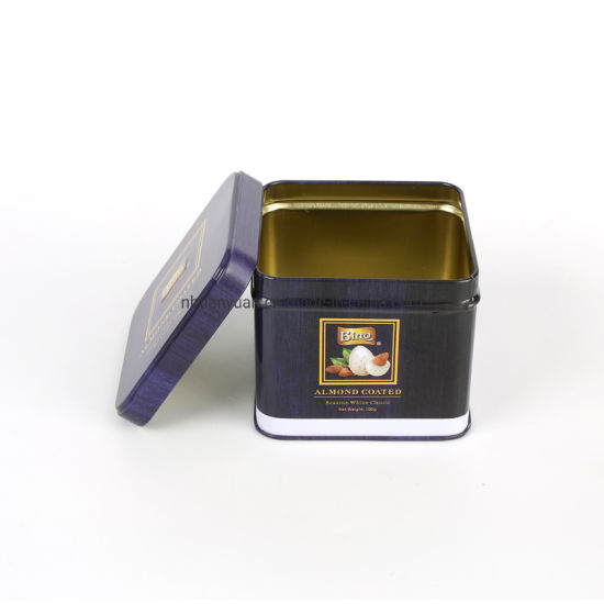 Metal Square Cake Cookie Candy Container Storage Tin Box