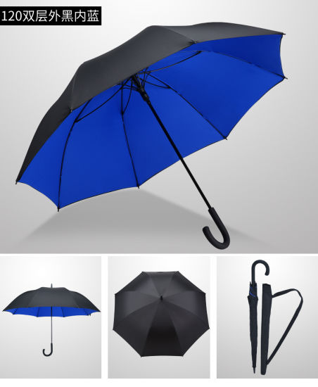 Crook Handle Double Layers Automatic Open Fiberglass Business Long Umbrella for Sun and Rain