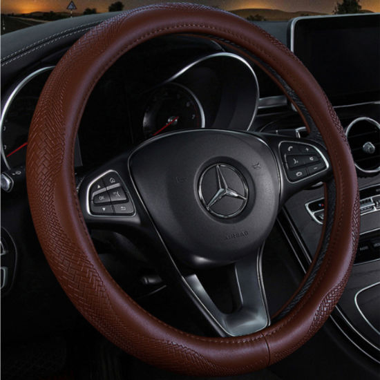 Leather Hand Sewing Steering Wheel Cover pictures & photos