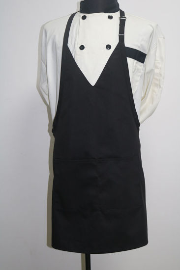 High Quality Fashion V Neck Tuxedo Cloth Bib Apron pictures & photos