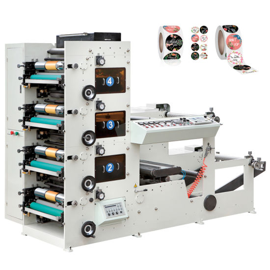 Rtry-320c 3 Color Small Adhesive Sticker Label Flexographic Printing Machine