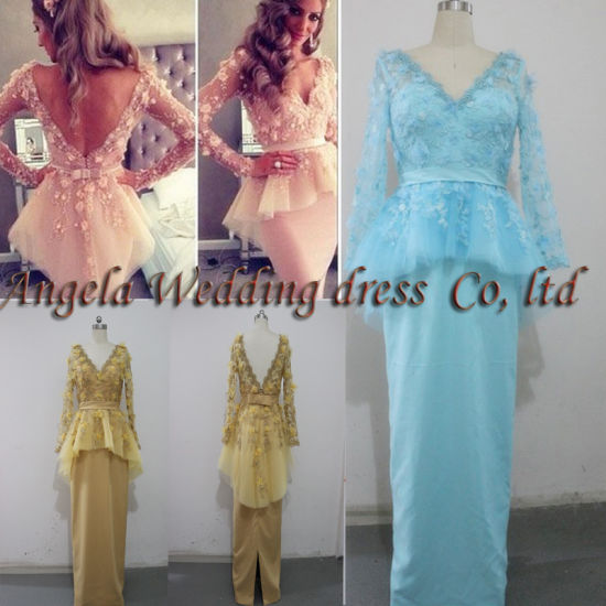 Free Shipping Drop Shipping Celebrity Graduation Evening Dress V-Neck Long Sleeve Floor-Length Bow Flower Custome