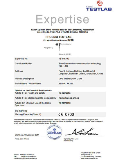 China Ce Certificated GPS Car/Truck Tracker with IMEI Number