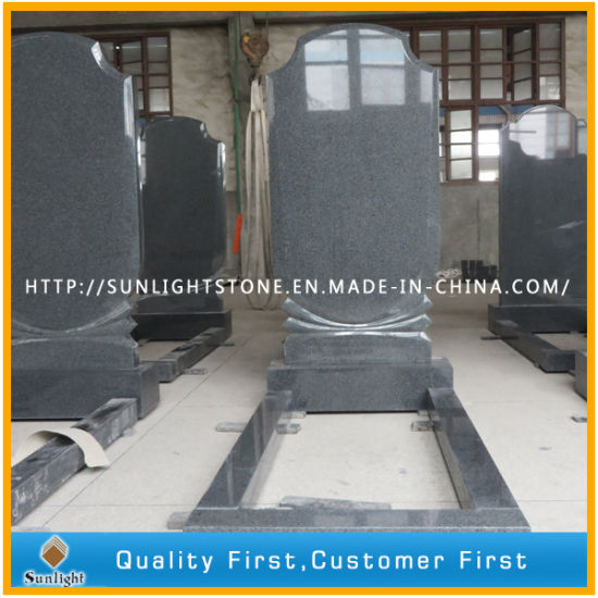 European Natural Stone Grey G654 Granite Tombstone with Flower Bed pictures & photos