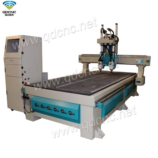 Two Spindle CNC Wood Router with Leadshine Servo Motors and Drivers Qd-1325-2at