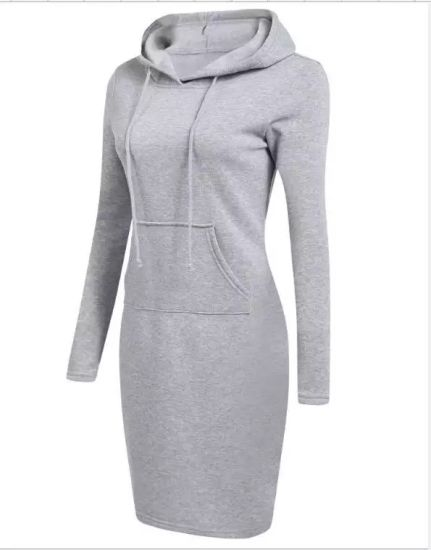Women′s Basic Warm Solid Hooded Long Sleeve Sweatshirt Dress pictures & photos