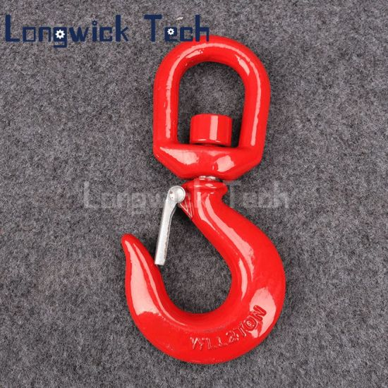 1 Pcs Red Alloy Swivel Shackle Hoist Hook Safety Hook with Latch