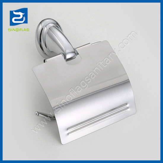 Bathroom Accessory Zinc Alloy Chrome Plated Toilet Paper Roll Holder with Lid