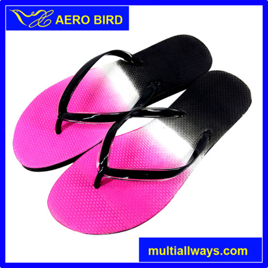 Fashion Slipper Sandal with Double Color Straps for Girl pictures & photos