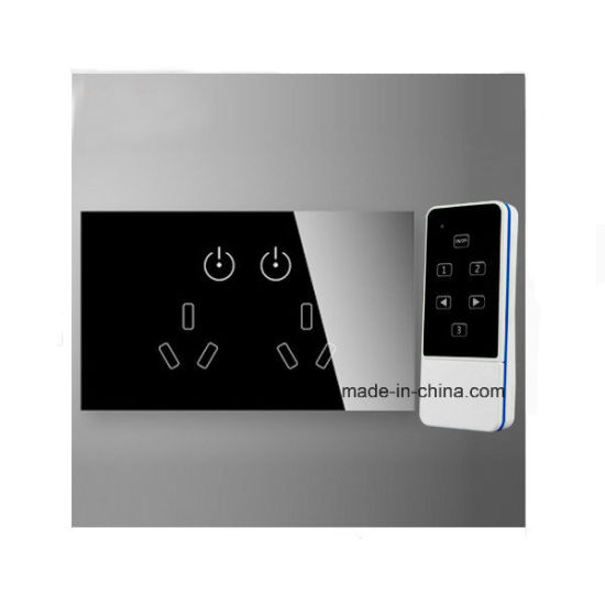Au Universal Smart Power Socket 15A, Multi-Function Wall Outlet with Remote Control, Tempered Glass Wireless Double Socket