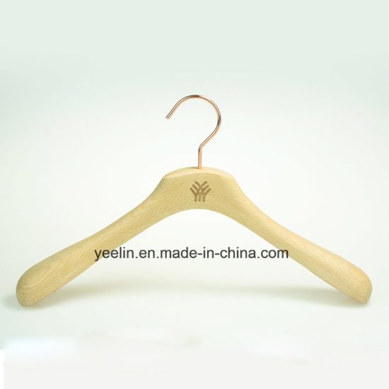A Grade Beech Wood Top Wooden Clothes Hanger with Rose Gold Metal Hook (YL-yw04) pictures & photos