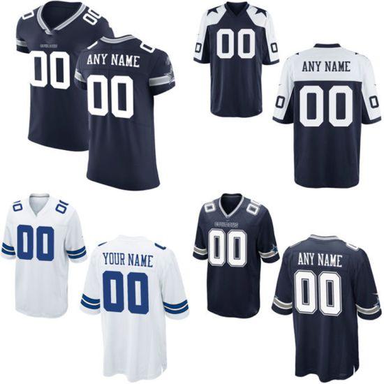 Game Elite Blue Navy White Football Dallas Throwback Jerseys