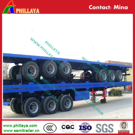3 Axle 40FT Vehicle High Bed Container Flatbed Semi Trailer pictures & photos