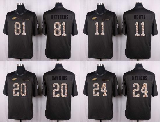 wholesale dealer 7449e c00c5 Midnight Green Carson Wentz Brian Dawkins Ryan Mathews Customized Football  Jerseys