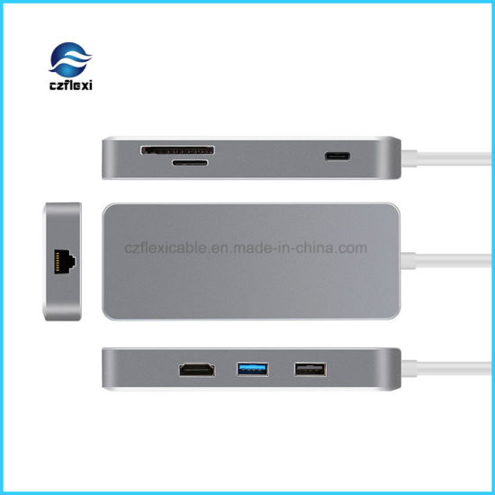 Aluminum Alloy Multifunction USB C Type C HDMI Hub with Ethernet pictures & photos