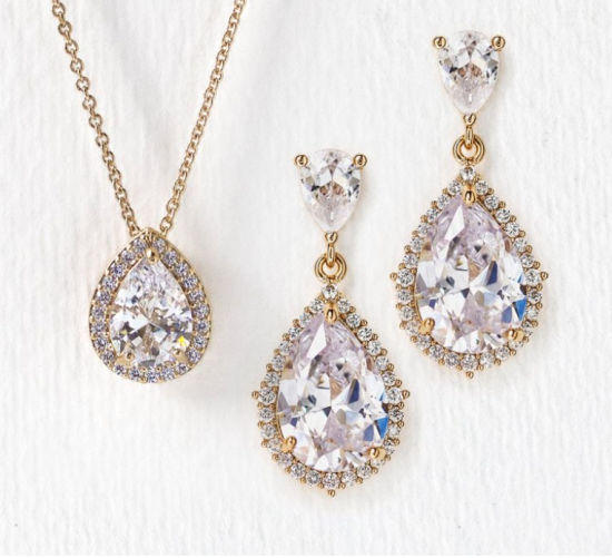 Wedding CZ Jewelry Set, Bridal CZ Necklace and Earring, Bridesmaid Jewelry Set