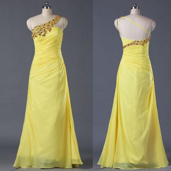 Wholesale Ladies Bead Chiffon Long One Shoulder Celebrity Dresses Yellow Gown E085