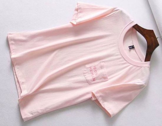 Pink printing 100% Human T-Shirt with out Pocket