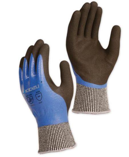 Breathable Back Comfort Wear 13G ANSI Cut Level A4 Safety Work Gloves with Black Sandy Nitrile Coating Palm