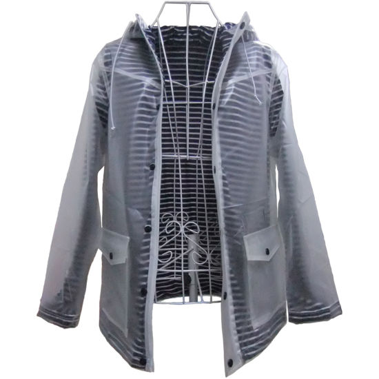 TPU Rain Jacket for Women with Breathable and Water Resistant in Popular, with Linning to Keep Body Warmer