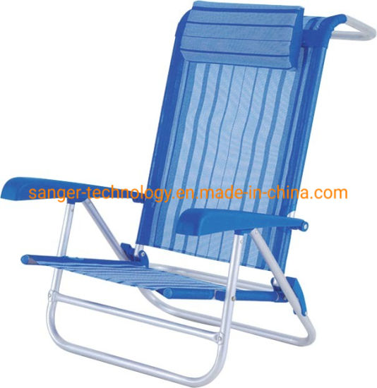 Hot Selling Foldable Beach Chair with Back Holder and Low Seat with or Without Pillow