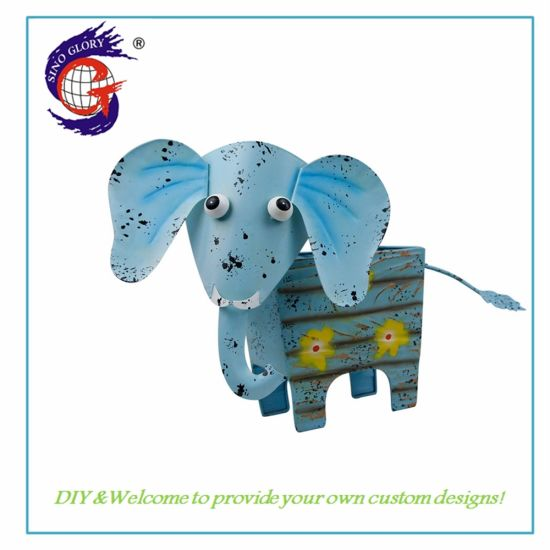 Creative Metal Gifts Square Elephant Shape Flower Pot