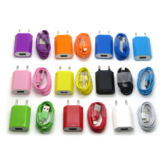 Colorful EU Wall Charger USB Power Adapter with Lightning Cable for iPhone 7 6s 5s