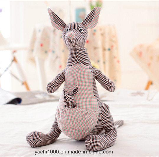Plush Kangaroo Toy Made of Plaid Fabric