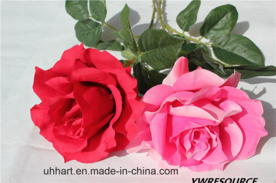 China Single Stem High Quality Artificial Rose Flower For Decoration