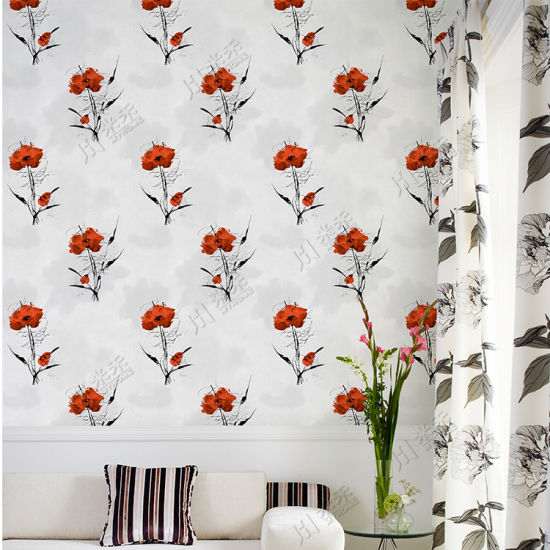 Natural Flower Design Wall Paper Living Room Wall Decorative PVC 3D Wallpaper Washable