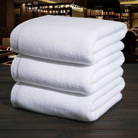 Wholesale Cotton Fabric Plain White Towels for Hotel pictures & photos