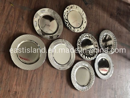 China Home Decoration Mirror Plated, Mirrored Charger Plates Bulk