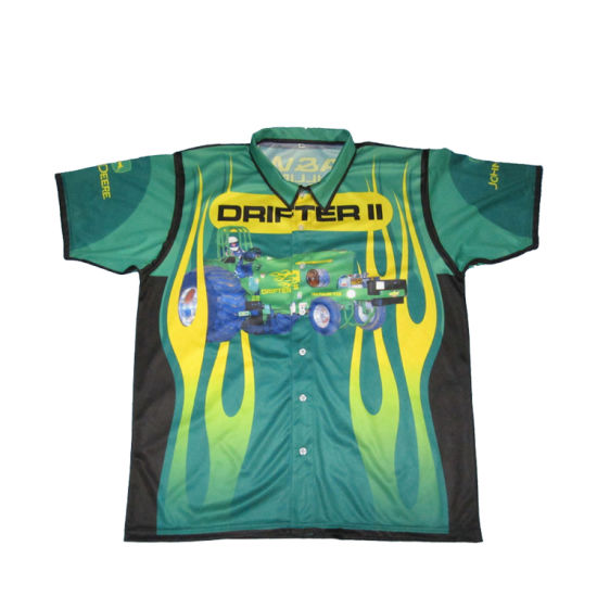 b6c589c4 Hidden Buttons Sublimated Pit Crew Racing Shirts /Custom Racing Team Wear