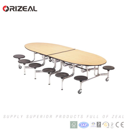 Orizeal School Used Cafetria Mobile Folding Table with Stainless Steel Dining Table Legs pictures & photos