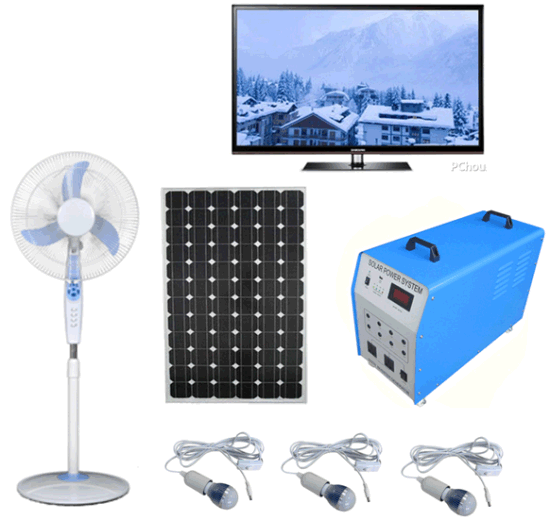100W Solar PV Panel Energy Home LED Lighting Kits Portable UPS Power Suppy System Fans TV pictures & photos