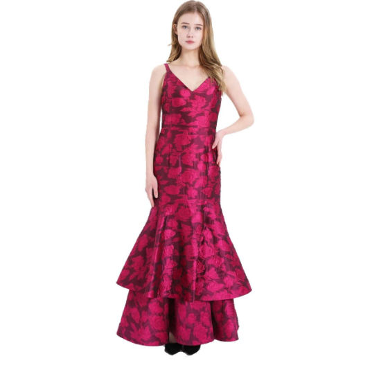 2020 New Arrivals Sexy High Quality Jacquard Elegant Party Dress Evening Gown for Woman
