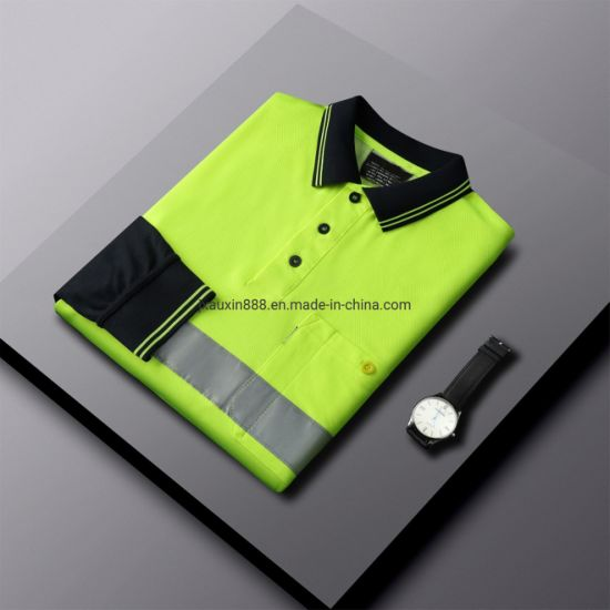 Workwear Safety Apparels Hivis Polo Shirt with Reflective Tape