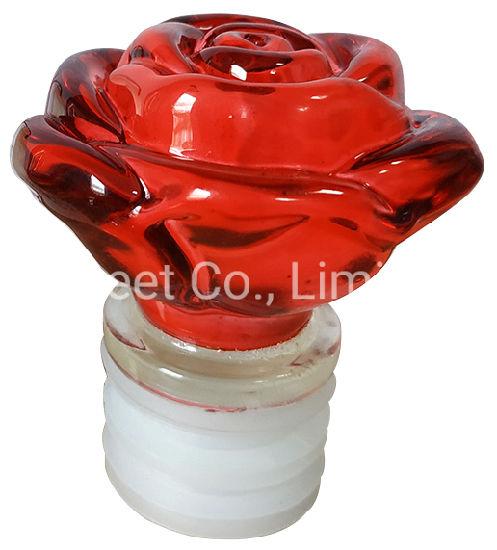 Custom Red Rose Design Wine Glass Bottle T Cork Stopper