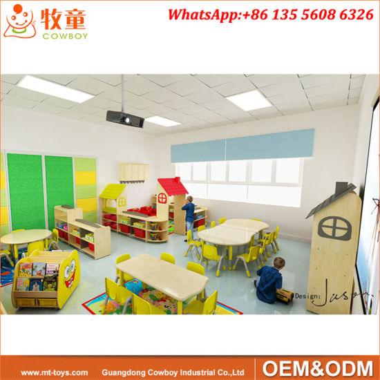 Plywood Kindergarten Table and Chairs Set Children Wood Kids Furniture