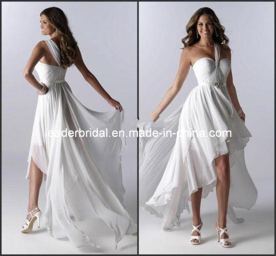 China Short Beach Littel White Bridal Gown Layered Hi Low Wedding Dresses H147232 China Short Wedding Dress And Bridal Dress Price