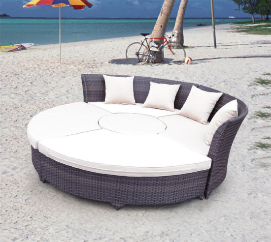 New Styleround Shape Garden Sunbed with Waterproof Back Pillows