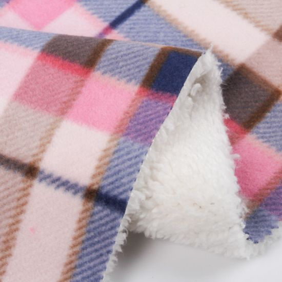 Polyester/Cotton Suede Fabric Bonded with Sherpa Fabric for Coat