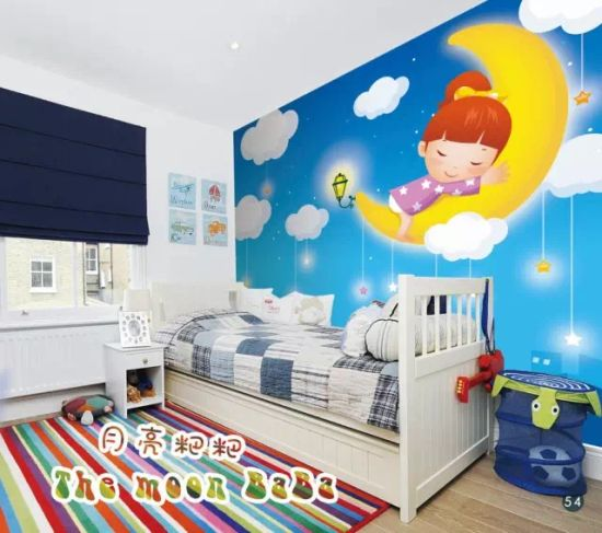 China New Design Cartoon Minions Wall Paper For Children Bed