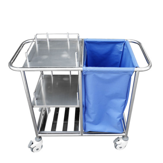 Stainless Steel Hospital Medical Waste Linen Trolley Mobile Nursing Laundry Carts Three Layers