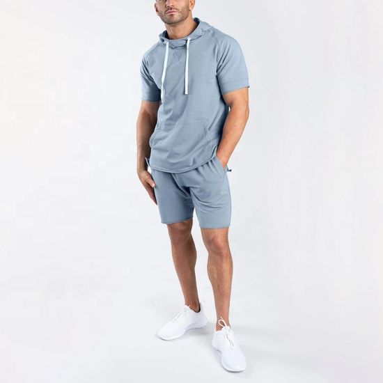 Custom Fitness Training Two Pieces Sets Mens Hoodies and Shorts Tracksuit